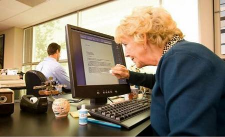 old woman with computer