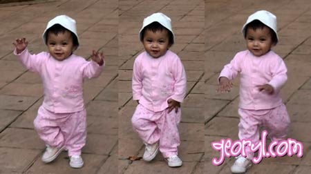 cute pretty baby in pink