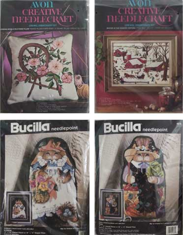 cross stitch sets at garage sale